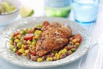 Cajun Chicken mit Zuckermais — Stockfoto