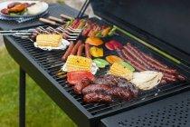 Повышенные вид колбасы, шампура и овощей на древесного угля для барбекю — стоковое фото