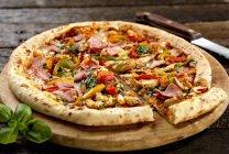 Pizza Stein gebacken — Stockfoto