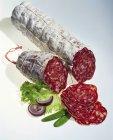 Salami francés en rodajas parciales - foto de stock