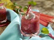 Rhubarb with ricotta cream — Stock Photo