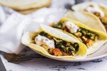 Tacos de pollo y verduras en plato blanco - foto de stock