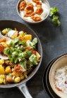 Colourful fried fusilli pasta — Stock Photo