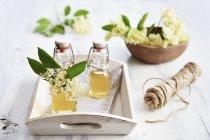 Closeup vista de xarope de elderflower caseiro com elderflowers frescos — Fotografia de Stock