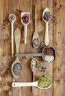 Vue de dessus des herbes, des fruits et des graines séchées sur des cuillères en bois — Photo de stock
