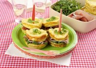 Omelette sandwiches with ham — Stock Photo