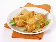 Baked mozzerella on kebab — Stock Photo