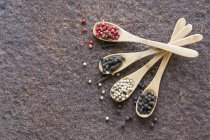 Dried pepper on wooden spoons — Stock Photo