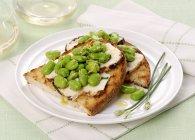 Crostini con ricotta affumicata — Foto stock