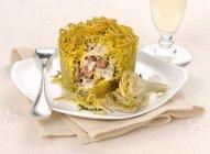 Запеченный пирог Макароны спагетти с беконом — стоковое фото