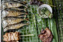 Pesce e carne di maiale alla griglia — Foto stock