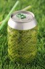 Вид крупным планом на зеленую закрытую банку для тяги в траве — стоковое фото