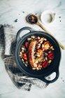 Bean stew in saucepan — Stock Photo