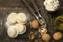 Homemade sorrentinos stuffed with ricotta and nuts — Stock Photo