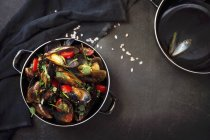 Moules à la tomate dans une casserole — Photo de stock