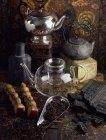 Підвищені зору різних чаїв і чайники — стокове фото