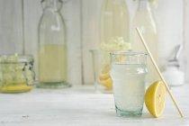 Bevanda di sambuco in un bicchiere con una cannuccia — Foto stock