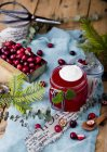 Cranberry jelly in glass jar — Stock Photo