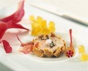 Closeup view of Foie-Gras-Terrine on white dish — Stock Photo