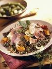 Salt pork with lentils — Stock Photo