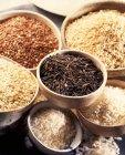 Varios tipos de arroz en cuencos - foto de stock
