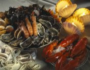 Closeup view of assorted shellfish with burning candles — Stock Photo
