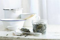 Pumpkin seeds in jar — Stock Photo