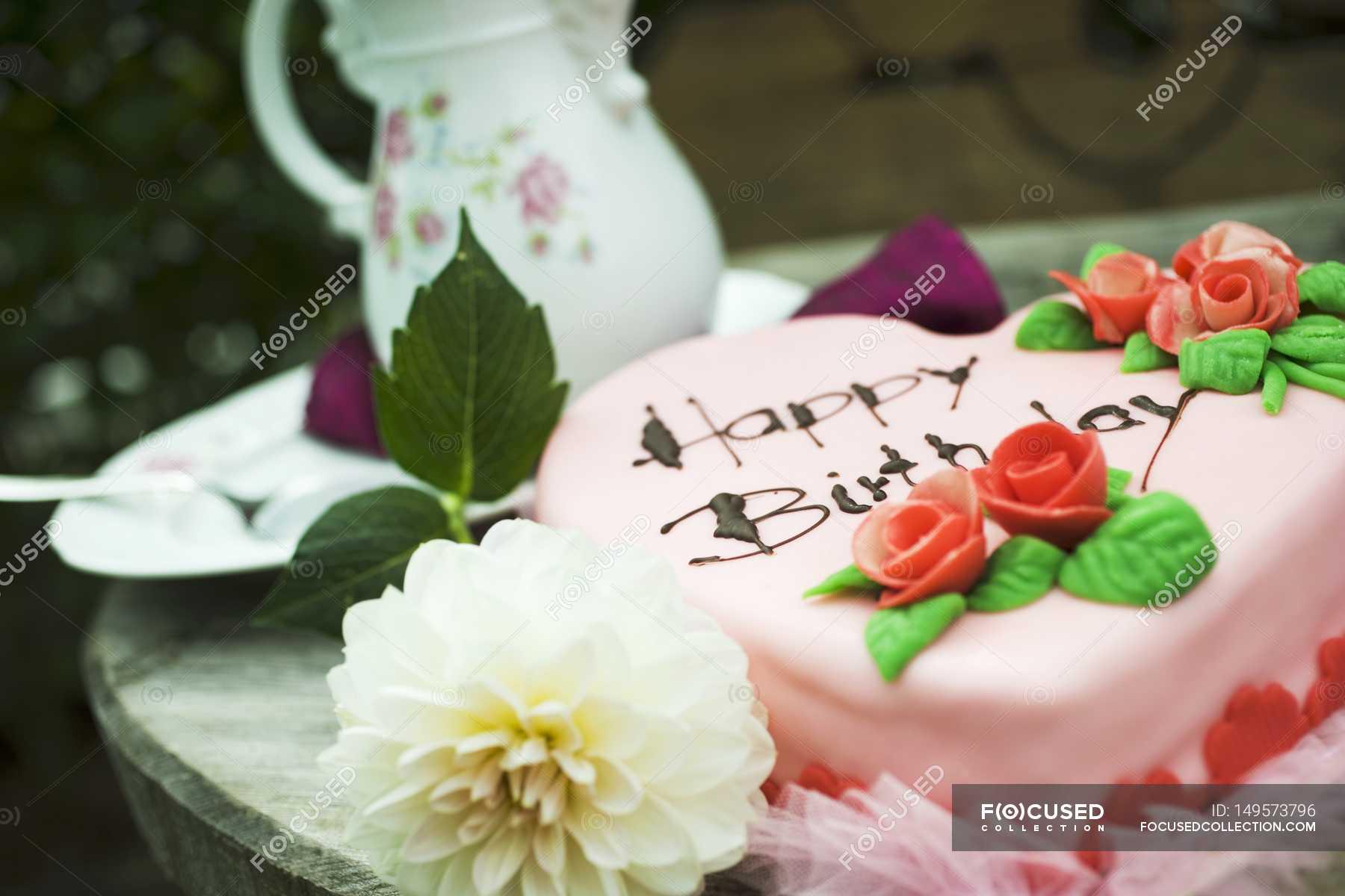 Pink Heart Shaped Birthday Cake Stock Photo 149573796