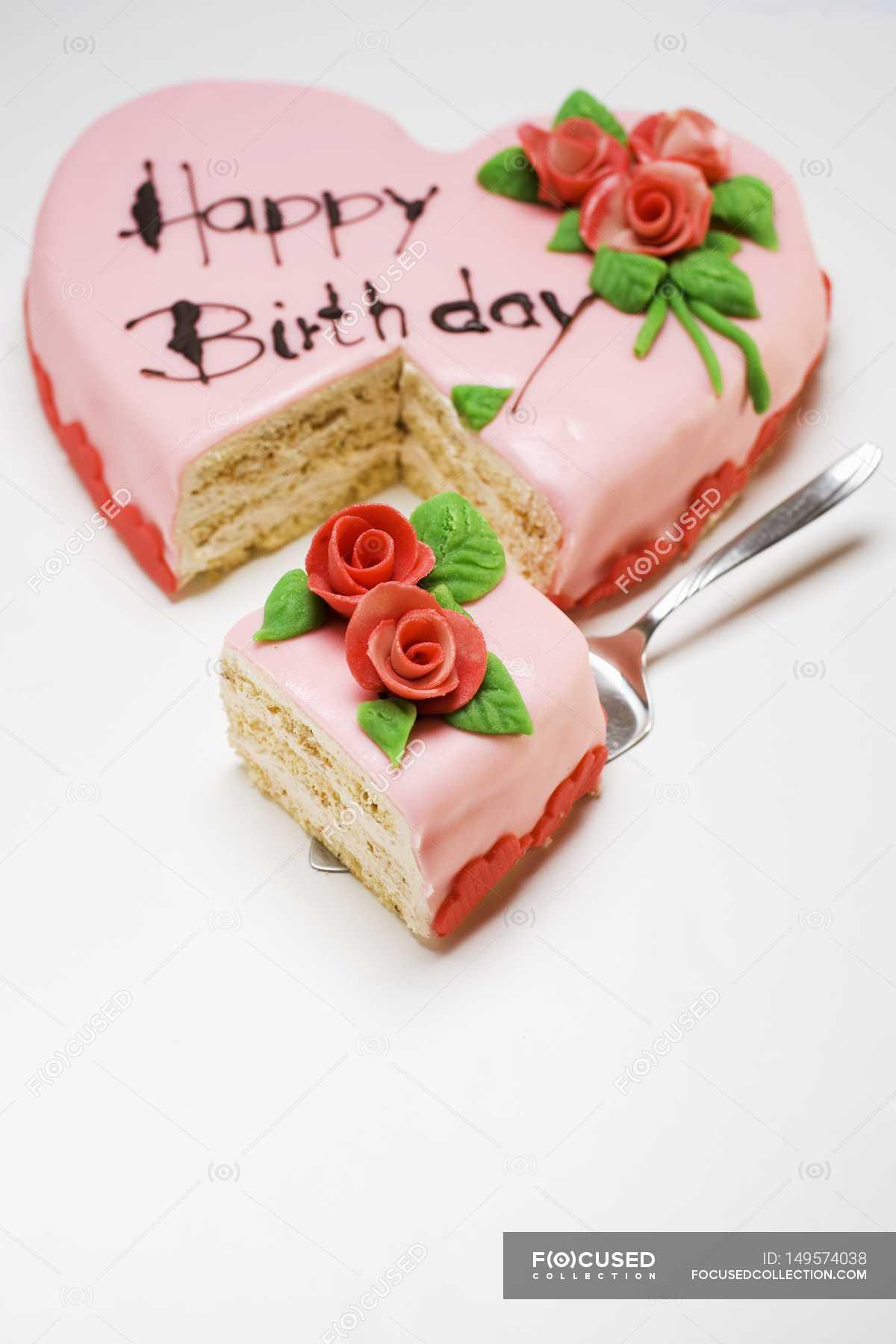 Pink Heart Shaped Birthday Cake Stock Photo 149574038
