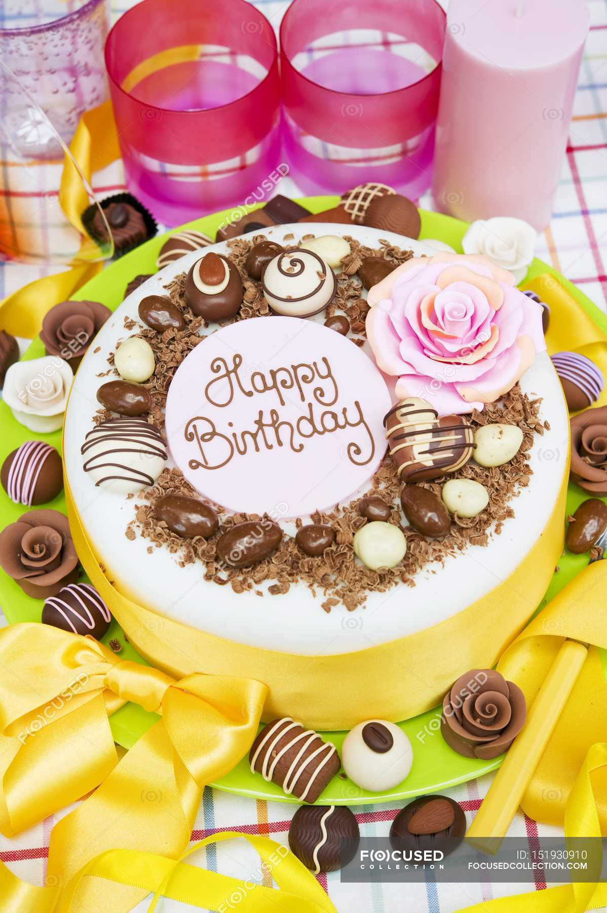 Birthday Cake With Chocolate Candies Stock Photo 151930910