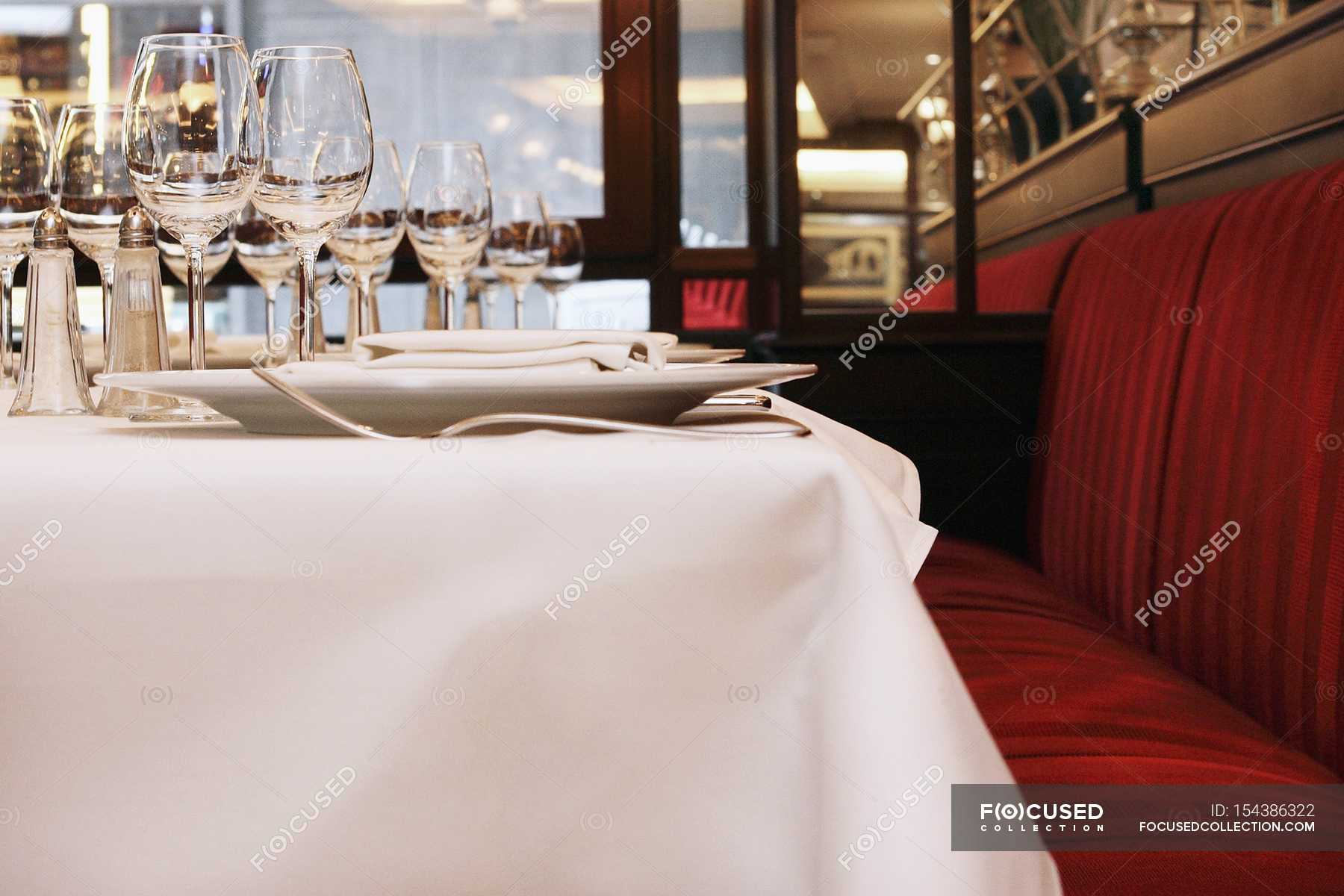 Side View Of A Table Laid In A Restaurant Spices Flavour Stock Photo 154386322