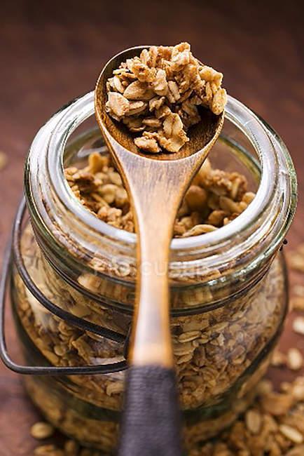 Muesli in glass jar — Stock Photo