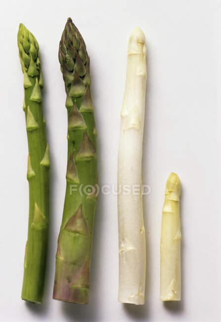 Four Assorted Asparagus Spears — Stock Photo