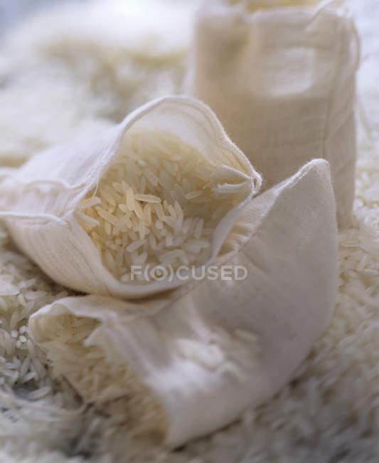 Sacks of white rice — Stock Photo