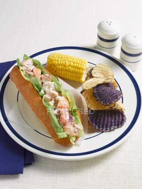 Guedille au homard avec croustilles — Photo de stock