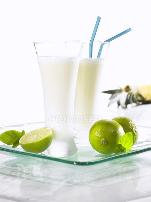 Pineapple and coconut shake — Stock Photo