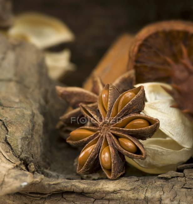 Star anise on a wooden surface — Stock Photo
