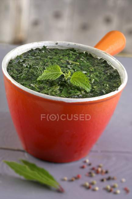 Closeup view of softening nettles in bowl — Stock Photo