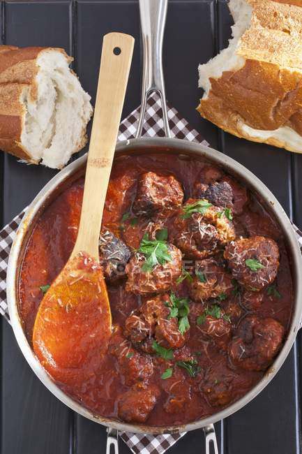 Pot of Homemade Meatballs — Stock Photo