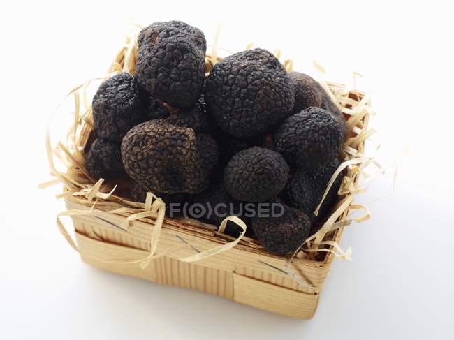 Black truffles in basket — Stock Photo