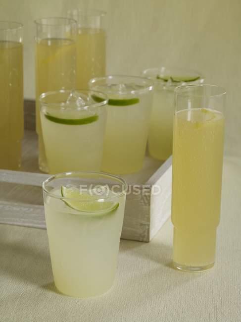 Homemade Lemonade with limes — Stock Photo