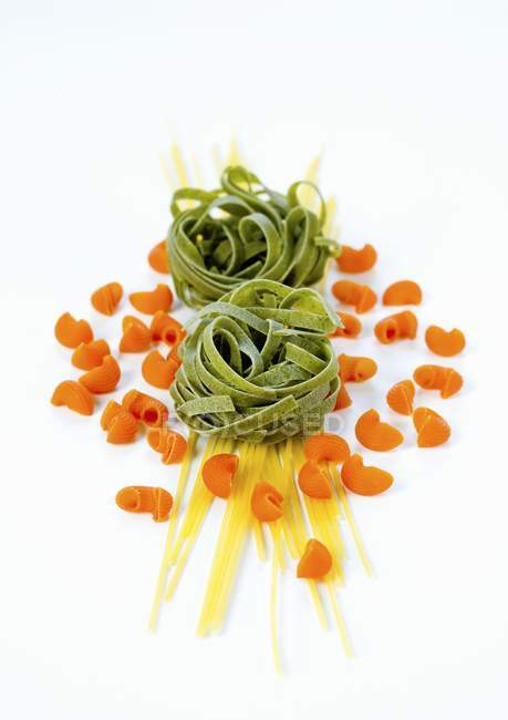 Various dried pastas on table — Stock Photo