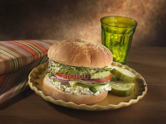 Panino vegetariano con formaggio — Foto stock