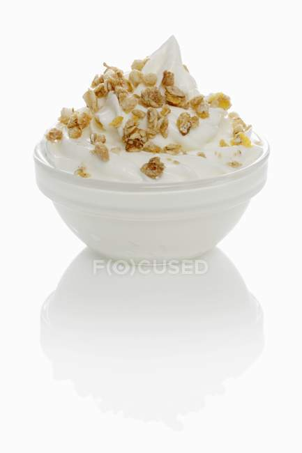 Ice cream with muesli — Stock Photo