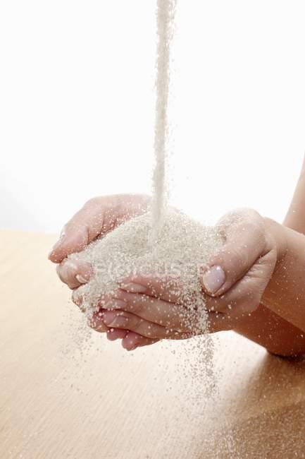 Крупним планом вид цукру-сирцю, що впадають в руки — стокове фото