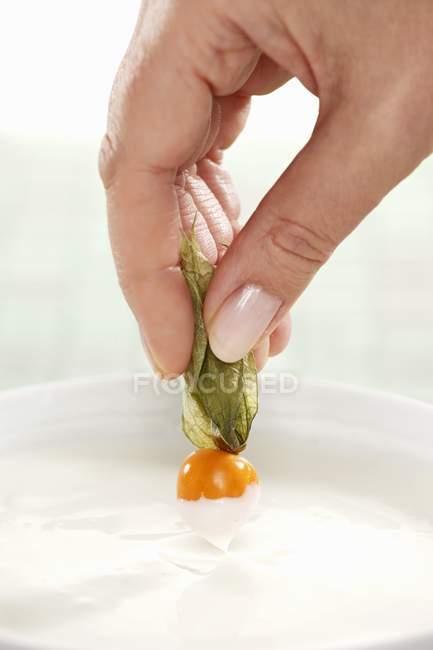 Крупним планом кадроване подання рука занурення мис агрус в йогурт — стокове фото
