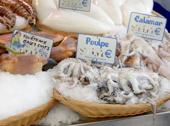 Pescados y mariscos frescos en el mercado de la calle - foto de stock