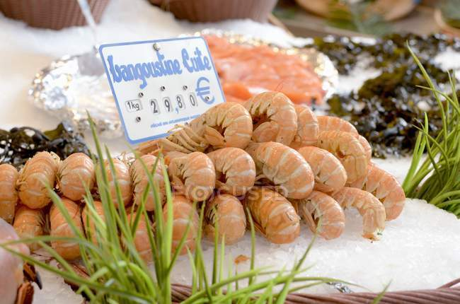Pila de langostas en el mercado de la calle - foto de stock