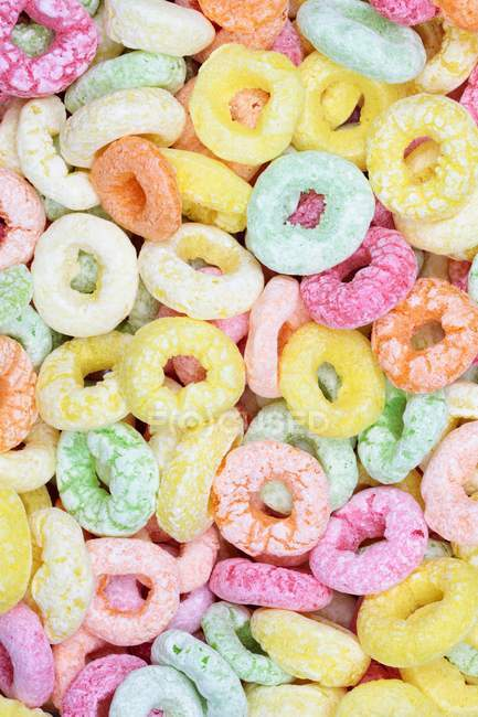Top view of brightly colored sweet rings — Stock Photo