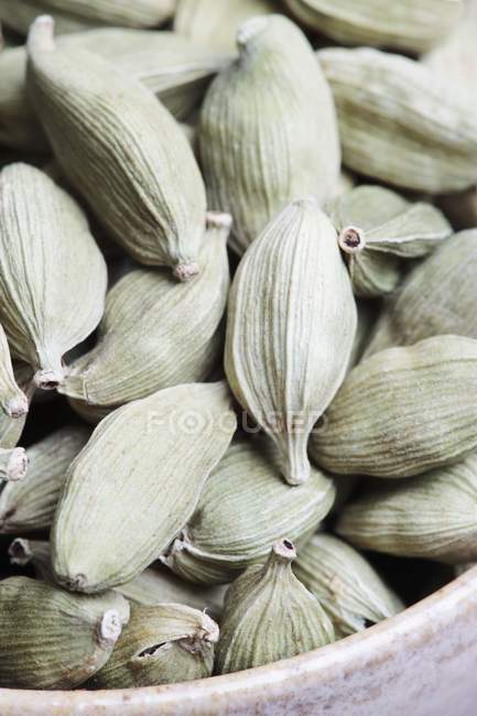 Closeup view of dried cardamom pods in a heap — Stock Photo
